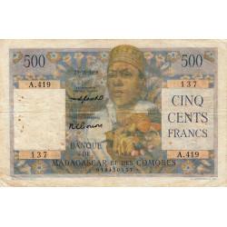 Madagascar - Pick 47b- 500 francs - 1955 - Etat : TB