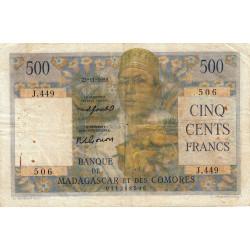 Madagascar - Pick 47b- 500 francs - 1955 - Etat : TB-
