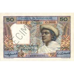 Madagascar - Pick 45bs - 50 francs - 1953 - Spécimen - Etat : SPL