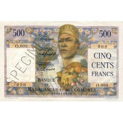 Madagascar - Pick 47bs - 500 francs - 1953 - Spécimen - Etat : SPL