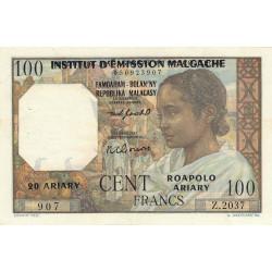 Madagascar - Pick 52b - 100 francs - 20 ariary - 1961 - Etat : SUP