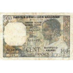Madagascar - Pick 52b - 100 francs - 20 ariary - 1961 - Etat : AB