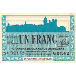 Béziers - Pirot 27-15 - 1 franc - 1915 - Etat : SUP