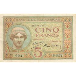 Madagascar - Pick 35b - 5 francs - 1937 - Etat : TTB