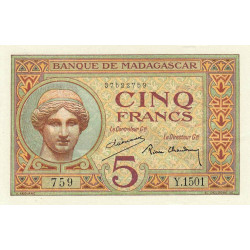 Madagascar - Pick 35b - 5 francs - 1937 - Etat : SUP+