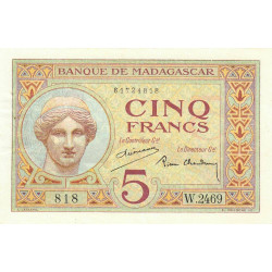 Madagascar - Pick 35b - 5 francs - 1937 - Etat : SUP