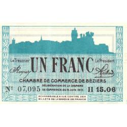 Béziers - Pirot 27-18 - 1 franc - Série II 15.06 - 09/06/1915 - Etat : SPL+