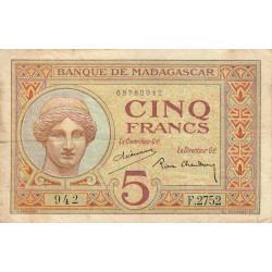Madagascar - Pick 35b - 5 francs - 1937 - Etat : B+