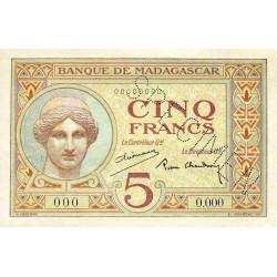 Madagascar - Pick 35bs - 5 francs - 1937 - Spécimen - Etat : SPL