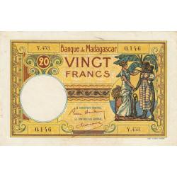 Madagascar - Pick 37b - 20 francs - 1937 - Etat : TTB
