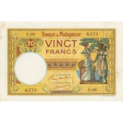 Madagascar - Pick 37b - 20 francs - 1937 - Etat : TTB+