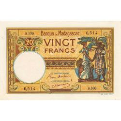 Madagascar - Pick 37b - 20 francs - 1937 - Etat : SPL