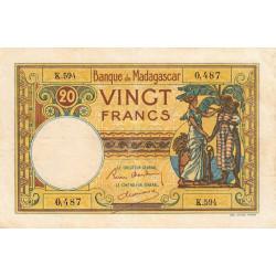Madagascar - Pick 37b - 20 francs - 1937 - Etat : TB+