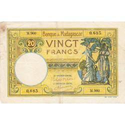 Madagascar - Pick 37c - 20 francs - 1948 - Etat : B+