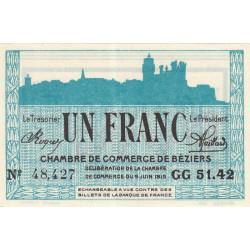 Béziers - Pirot 27-18 - 1 franc - Série GG 51.42 - 09/06/1915 - Etat : NEUF