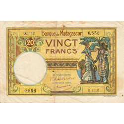 Madagascar - Pick 37c - 20 francs - 1948 - Etat : TB-