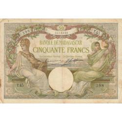 Madagascar - Pick 38a - 50 francs - 1926 - Etat : B+