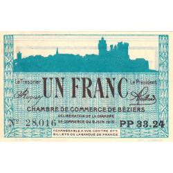 Béziers - Pirot 27-18 - 1 franc - Série PP 33.24 - 09/06/1915 - Etat : SUP