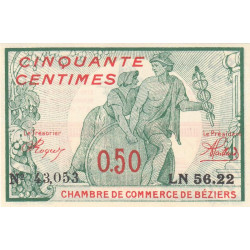 Béziers - Pirot 27-20 - 50 centimes - 1916 - Etat : NEUF