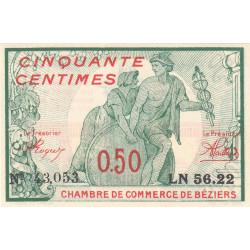 Béziers - Pirot 27-20 - 50 centimes - Série LN 56.22 - 04/12/1916 - Etat : NEUF