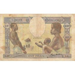 Madagascar - Pick 40b - 100 francs - 1937 - Etat : B+