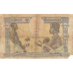 Madagascar - Pick 40b - 100 francs - 1937 - Etat : AB