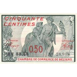 Béziers - Pirot 27-22 - 50 centimes - Série ZV 53.44 - 19/11/1918 - Etat : NEUF