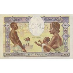 Madagascar - Pick 40bs - 100 francs - 1937 - Spécimen - Etat : SPL