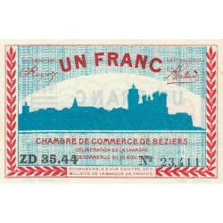 Béziers - Pirot 27-23 - 1 franc - Série ZD 35.44 - 19/11/1918 - Etat : SUP+
