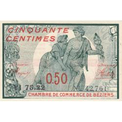 Béziers - Pirot 27-25 variété - 50 centimes - Série YI 75.22 - 18/10/1919 - Etat : SPL
