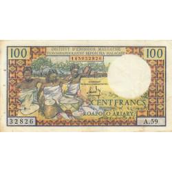 Madagascar - Pick 57a - 100 francs - 20 ariary - 1966 - Etat : TB+