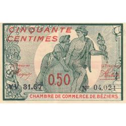 Béziers - Pirot 27-27 - 50 centimes - Série VV 31.57 - 13/04/1920 - Etat : SUP