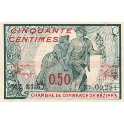 Béziers - Pirot 27-29 - 50 centimes - Série XZ 31.57 - 13/04/1920 - Etat : SUP