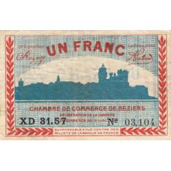 Béziers - Pirot 27-30 - 1 franc - Série XD 31.57 - 13/04/1920 - Etat : TB+