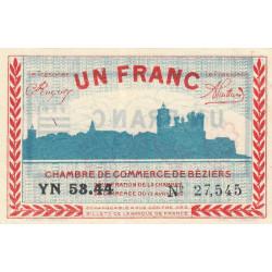 Béziers - Pirot 27-30 - 1 franc - Série YN 53.44 - 13/04/1920 - Etat : SUP