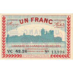 Béziers - Pirot 27-31 - 1 franc - 1920 - Etat : SUP+