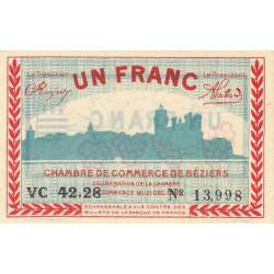 Béziers - Pirot 27-31 - 1 franc - Série VC 42.28 - 13/04/1920 - Etat : SUP+