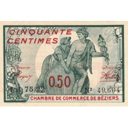 Béziers - Pirot 27-32 - 50 centimes - Série 1J 75.22 - 12/07/1921 - Etat : SUP+