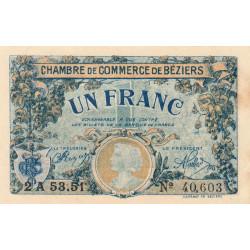 Béziers - Pirot 27-34 - 1 franc - Série 2A 53.51 - 14/03/1922 - Etat : TTB