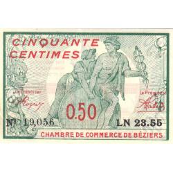 Béziers - Pirot 27-20 - 50 centimes - Série LN 23.55 - 04/12/1916 - Etat : SUP+