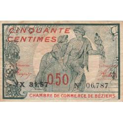 Béziers - Pirot 27-25 - 50 centimes - Série YX 31.57 - 18/10/1919 - Etat : TB