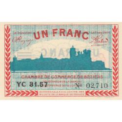Béziers - Pirot 27-26 variété - 1 franc - Série YC 31.57 - 18/10/1919 - Etat : SPL+
