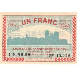Béziers - Pirot 27-33 - 1 franc - Série 1N 42.28 - 12/07/1921 - Etat : SUP+