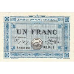 Bordeaux - Pirot 30-14 - 1 franc- Série 22 - 1917 - Etat : SPL