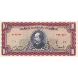 Chili - Pick 139a2 - 10 escudos - 1965 - Etat : TTB+