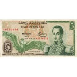 Colombie - Pick 406e2 - 5 pesos oro - 20/07/1974 - Etat : TTB