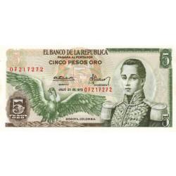 Colombie - Pick 406e3 - 5 pesos oro - 20/08/1975 - Etat : NEUF