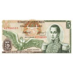 Colombie - Pick 406e4 - 5 pesos oro - 20/07/1976 - Etat : NEUF