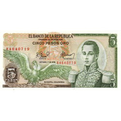 Colombie - Pick 406f_1 - 5 pesos oro - 1978 - Etat : NEUF