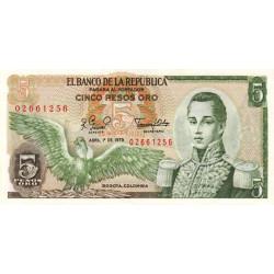 Colombie - Pick 406f_2 - 5 pesos oro - 1979 - Etat : NEUF